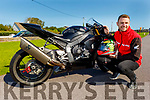 Emmett O'Grady ready for the motorcycling track season ahead and he is driving a Honda one of a kind 1000cc motorbike imported into Ireland for his racing.