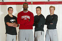 26 September 2005: Picture day for wrestling in the wrestling room in Stanford, CA. (L to R) Matt Gentry, Kerry McCoy, John Clark, Kevin Klemm.