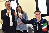Roma 13-3-2019 Centro Federale di Ostia <br /> Swimmer Manuel Bortuzzo his mother Rossella Corona and italian swimming federation Paolo Barelli make a toast at the end of a meeting with the press. Manuel Bortuzzo was shot in the back due to a mistaken identity and is paralysed from the waist down since then. This is the first outing of Manuel from the hospital and the rehabilitation center.  <br /> Foto Andrea Staccioli / Deepbluemedia / Insidefoto