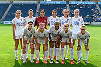BRIDGEVIEW, IL - JULY 18: OL Reign Starting XI pose for a photo before a game between OL Reign and Chicago Red Stars at SeatGeek Stadium on July 18, 2021 in Bridgeview, Illinois.