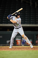 Peoria Javelinas Owen Miller (14), of the San Diego Padres organization, at bat during an Arizona Fall League game against the Mesa Solar Sox on September 21, 2019 at Sloan Park in Mesa, Arizona. Mesa defeated Peoria 4-1. (Zachary Lucy/Four Seam Images)