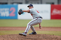 Rome Braves relief pitcher Indigo Diaz (22) in action against the Greensboro Grasshoppers at First National Bank Field on May 16, 2021 in Greensboro, North Carolina. (Brian Westerholt/Four Seam Images)
