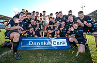 Monday 19th March 2018 |  Ulster Schools Cup Final 2018<br /> <br /> Campbell College's John McKee celebrates with his team after winning 2018 Ulster Schools Cup Final between the Royal School Armagh and Campbell College at Kingspan Stadium, Ravenhill Park, Belfast, Northern Ireland. Photo by Matt Mackey / DICKSONDIGITAL