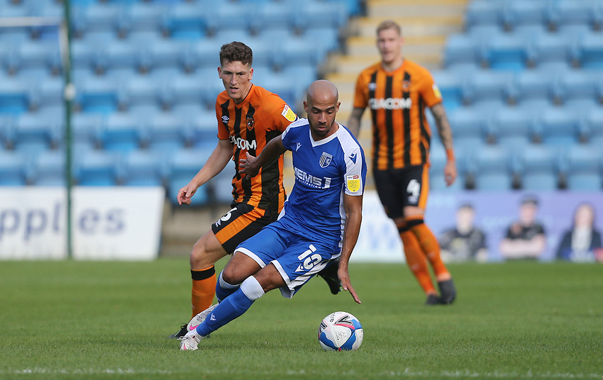 Gillingham's Jordan Graham and Hull City's Richard Smallwood<br /> <br /> Photographer Rob Newell/CameraSport<br /> <br /> The EFL Sky Bet League One - Gillingham v Hull City - Saturday September 12th 2020 - Priestfield Stadium - Gillingham<br /> <br /> World Copyright © 2020 CameraSport. All rights reserved. 43 Linden Ave. Countesthorpe. Leicester. England. LE8 5PG - Tel: +44 (0) 116 277 4147 - admin@camerasport.com - www.camerasport.com