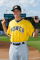 West Virginia Power shortstop Cole Tucker (2) poses for a photo prior to the game against the Kannapolis Intimidators at CMC-Northeast Stadium on April 21, 2015 in Kannapolis, North Carolina.  The Power defeated the Intimidators 5-3 in game one of a double-header.  (Brian Westerholt/Four Seam Images)