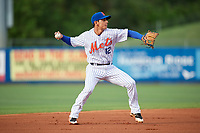 St. Lucie Mets shortstop Andres Gimenez (12) throws to first base during the first game of a doubleheader against the Charlotte Stone Crabs on April 24, 2018 at First Data Field in Port St. Lucie, Florida.  St. Lucie defeated Charlotte 5-3.  (Mike Janes/Four Seam Images)