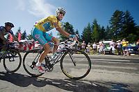 Vincenzo Nibali (ITA/Astana) leading the race up the final climb to Chamrousse (1730m/18.2km/7.3%)<br /> <br /> 2014 Tour de France<br /> stage 13: Saint-Etiènne - Chamrousse (197km)