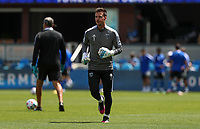 SAN JOSE, CA - APRIL 24: JT Marcinkowski #! of the San Jose Earthquakes warming up during a game between FC Dallas and San Jose Earthquakes at PayPal Stadium on April 24, 2021 in San Jose, California.