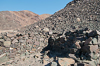 Ruins of an old stone cabin in Death Valley National Park, California