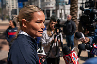 ORLANDO, FL - FEBRUARY 28: Ashlyn Harris #18 of the United States talks with the media following a SheBelieves press conference at City Hall on February 28, 2020 in Orlando, Florida.