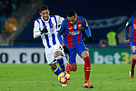 Real Sociedad's Carlos Vela, FC Barcelona's Neymar Santos Jr during the match of La Liga, between Real Sociedad and Futbol Club Barcelona at Anoeta Stadium, San Sebastian , Spain. November 27, 2016. (ALTERPHOTOS/Rodrigo Jimenez)