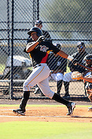 Pittsburgh Pirates minor league catcher Elias Diaz (68) vs. the New York Yankees in an Instructional League game at the New York Yankees Minor League Complex in Tampa, Florida;  October 8, 2010.  Photo By Mike Janes/Four Seam Images