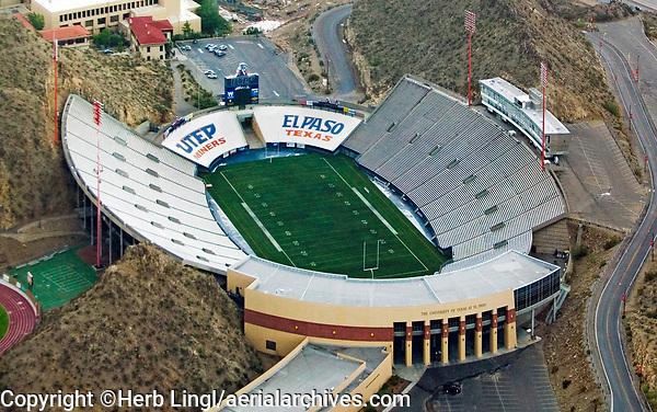 aerial photograph of the Sun Bowl football stadium, University of Texas El Paso, Miners, El Paso, Texas