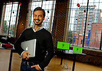 Tresata Inc. Co- Founder Abhishek Mehta in their Charlotte, North Carolina office.Tresata, Inc. provides data management platform. Its platform brings unstructured online, email, twitter, voice, and GPS data to internal data and produces new data products.