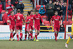Aberdeen v St Johnstone…31.03.18…  Pittodrie    SPFL<br />Greg Stewart celebrates his second goal<br />Picture by Graeme Hart. <br />Copyright Perthshire Picture Agency<br />Tel: 01738 623350  Mobile: 07990 594431