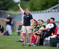 Head coach Wendy Waddell of the Virginia Beach Piranhas  tells her team to clear the ball during the game at the Maryland SoccerPlex in Boyds, Maryland.  The D.C. United Women defeated the Virginia Beach Piranhas, 3-0, to advance to the W-League Eastern Conference Championship.