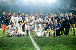 Auckland City FC Squad celebrate with the Champions Trophy after winning the Nike New Year Cup 2017 during the Nike Lunar New Year Cup 2017 match between SC Kitchee (HKG) and Auckland City FC (NZL) on January 31, 2017 in Hong Kong, Hong Kong. Photo by Marcio Rodrigo Machado / Power Sport Images