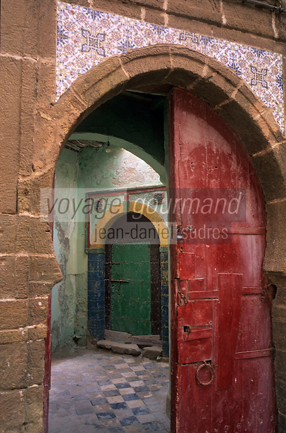 Afrique/Maghreb/Maroc/Essaouira : Dans la Médina, détail des portes d'une maison