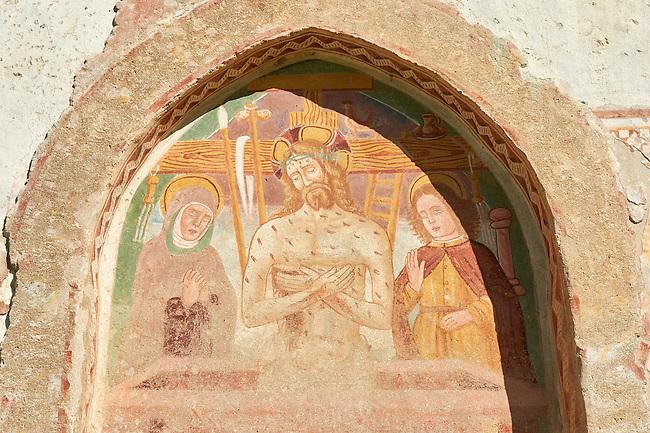 Fresco of Jesus Christ and the Cross on the church of San Vigilio in Pinzolo, Trentino, Italy