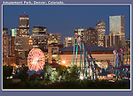 Digital cameras make night photography fun and easy, so EXPLORE. <br /> Ferris wheel at amusement park. with the Denver skyline. John offers private photo tours in Denver, Boulder and throughout Colorado. Year-round.