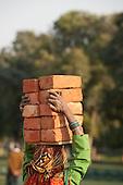 Delhi, India. Woman labourer carrying 10 ten bricks on her head.