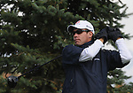 5 October 2008: Brian Davis sports some winter mittens during practices swings to combat the cold weather during the final round at the Turning Stone Golf Championship in Verona, New York.