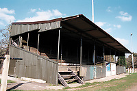 The main stand at Shepton Mallet FC Football Ground, Playing Fields, Old Wells Road, West Shepton, Shepton Mallet, Somerset, pictured on 27th March 1997
