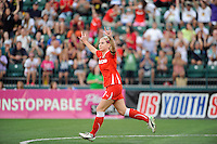 McCall Zerboni (7) of the Western New York Flash celebrates scoring during the penalty kick shootout. The Western New York Flash defeated the Philadelphia Independence 5-4 in a penalty kick shootout after playing to a 1-1 tie during the Women's Professional Soccer (WPS) Championship presented by Citi at Sahlen's Stadium in Rochester NY, on August 27, 2011.