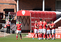 24th April 2021, Oakwell Stadium, Barnsley, Yorkshire, England; English Football League Championship Football, Barnsley FC versus Rotherham United; Barnsley team celebrate going 1-0 up as Carlton Morris of Barnsley scores