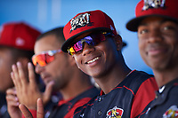 Batavia Muckdogs Samuel Castro (5) in the dugout during a game against the Tri-City ValleyCats on July 16, 2017 at Dwyer Stadium in Batavia, New York.  Tri-City defeated Batavia 13-8.  (Mike Janes/Four Seam Images)
