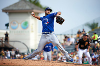 Toronto Blue Jays pitcher Blake McFarland (53) delivers a pitch during a Spring Training game against the Pittsburgh Pirates on March 3, 2016 at McKechnie Field in Bradenton, Florida.  Toronto defeated Pittsburgh 10-8.  (Mike Janes/Four Seam Images)