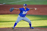 Ogden Raptors starting pitcher Jairo Pacheco (11) delivers a pitch to the plate against the Orem Owlz in Pioneer League action at Home of the Owlz on June 25, 2016 in Orem, Utah. Orem defeated Ogden 4-1. (Stephen Smith/Four Seam Images)