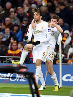 Pictured L-R: Michu of Swansea celebrating his goal with team mate Ben Davies. Sunday 24 February 2013<br /> Re: Capital One Cup football final, Swansea v Bradford at the Wembley Stadium in London.