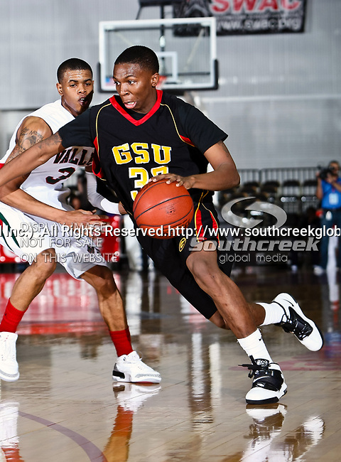 Grambling State Tigers forward Chris Britt-Black (33) in action during the SWAC Tournament game between the Grambling State Tigers and the Mississippi Valley State Delta Devils at the Special Events Center in Garland, Texas. Grambling State defeats Mississippi Valley 65 to 62
