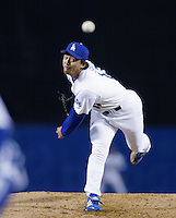Kazuhisa Ishii of the Los Angeles Dodgers pitches during a 2002 MLB season game at Dodger Stadium, in Los Angeles, California. (Larry Goren/Four Seam Images)