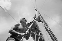 Navigator, Nainoa Thompson, aboard Polynesian voyaging canoe, Hokule'a; Voyage to Micronesia _ Spring 2007