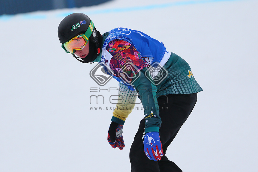 Cameron Bolton (AUS)<br /> Snowboard -Men's  Boadrer Cross <br /> 2014 Sochi Winter Olympics - Russia<br /> Rosa Khutor - Extreme Park<br /> 18.02.2014 Sochi, Krasnodar Krai, Russia. <br /> © Sport the library / Yohei Osada