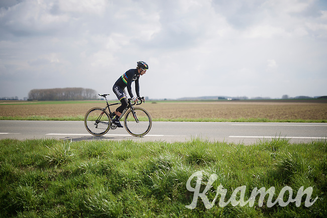 World Champion and race favourite Peter Sagan (SVK/Tinkoff) relaxes the legs after having finished the recon of the 114th Paris - Roubaix 2016