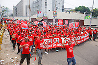 Thousands of workers including garments and others industries gathered today at Dhaka Press club area to celebrate the International Labor Day. The garments workers demand safe working environment, life security, proper salary and compensation. Dhaka, Bangladesh.