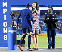FRISCO, TX - MARCH 11: Ali Krieger #11 of the United States receives her medal during a game between Japan and USWNT at Toyota Stadium on March 11, 2020 in Frisco, Texas.