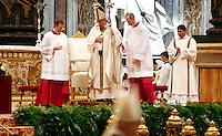 Papa Francesco celebra la Santa Messa del Crisma in occasione del Giovedì Santo, nella Basilica di San Pietro, Citta' del Vaticano, 17 aprile 2014.<br /> Pope Francis celebrates the Chrism Mass marking the start of Easter celebrations, in St. Peter's Basilica at the Vatican, 17 April 2014.<br /> UPDATE IMAGES PRESS/Riccardo De Luca<br /> <br /> STRICTLY ONLY FOR EDITORIAL USE
