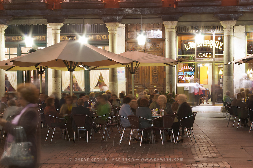 restaurant terrace plaza mayor Valladolid spain castile and leon