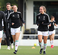 Charlotte Cranshoff (18) of OHL and Janne Huysmans (28) of OHL warming up before a female soccer game between Oud Heverlee Leuven and RSC Anderlecht on the fifth matchday of the 2021 - 2022 season of Belgian Womens Super League , sunday 3 October 2021  in Leuven , Belgium . PHOTO SPORTPIX.BE   SEVIL OKTEM