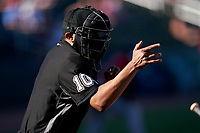 Umpire Erich Bacchus calls a strike during a Major League Spring Training game between the Boston Red Sox and Atlanta Braves on March 7, 2021 at CoolToday Park in North Port, Florida.  (Mike Janes/Four Seam Images)