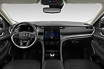 Stock photo of straight dashboard view of 2021 JEEP Grand-Cherokee-L Limited 5 Door SUV Dashboard