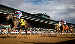 LEXINGTON, KY - OCTOBER 07: Finley'sluckycharm #4, ridden by Brian Hernandez is victorious in the Thoroughbred Club of America Stakes at Keeneland Race Course on October 07, 2017 in Lexington, Kentucky. (Photo by Alex Evers/Eclipse Sportswire/Getty Images)