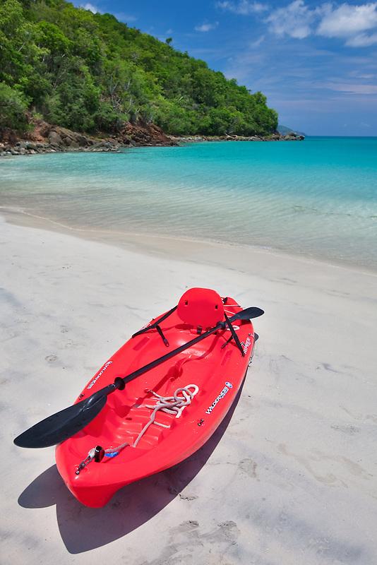 Red canoe at Megan's Bay. St. Thomas. US Virgin Islands.
