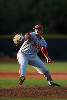 Ball State Cardinals pitcher Trevor Henderson (19) during a game against the Dartmouth Big Green on March 7, 2015 at North Charlotte Regional Park in Port Charlotte, Florida.  Ball State defeated Dartmouth 7-4.  (Mike Janes/Four Seam Images)