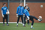 Alan Smith overhead kicks the ball as the keepers put in some practice