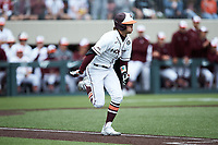 Jack Hurley (31) of the Virginia Tech Hokies hustles down the first base line against the Georgia Tech Yellow Jackets at English Field on April 17, 2021 in Blacksburg, Virginia. (Brian Westerholt/Four Seam Images)